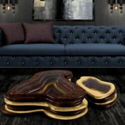 Coole Couchtische Holz Glas Chesterfield Sofa