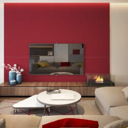 Farbe Rot Feng Shui Wandfarbe Wohnzimmer Hinter TV Taupe Ecksofa