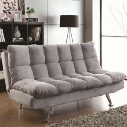 Schlafsofa In Grau Mr Matress Funriture Klappfunktion Polster Matellfuesse Laminatboden Wandregal