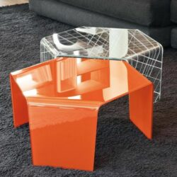 Design Couchtische Hexagonal Form Glas Orange Modern