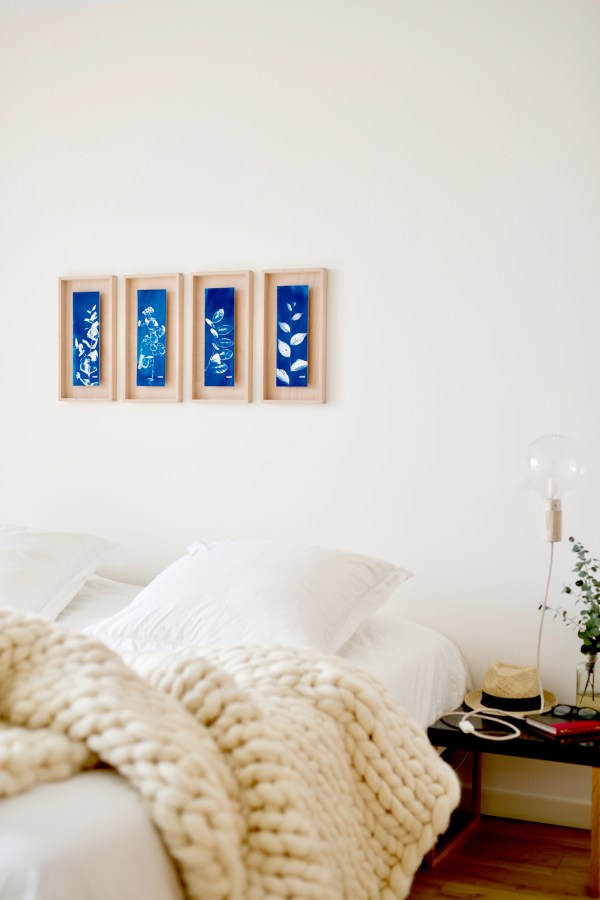 Blue Floral 4 Panel Paintings Displayed On Wall